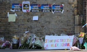 Floral tributes laid by the members of public in Finsbury Park.