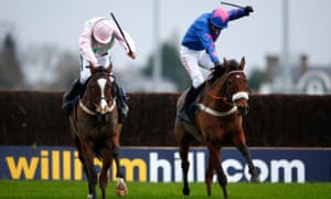 Racing's whip rules came into sharp focus again after the King George VI Chase above when Cue Card, right, beat Vautour in a desperately close finish.