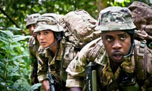 Harki Bhambra, Michelle Keegan and Rolan Bell in Our Girl.