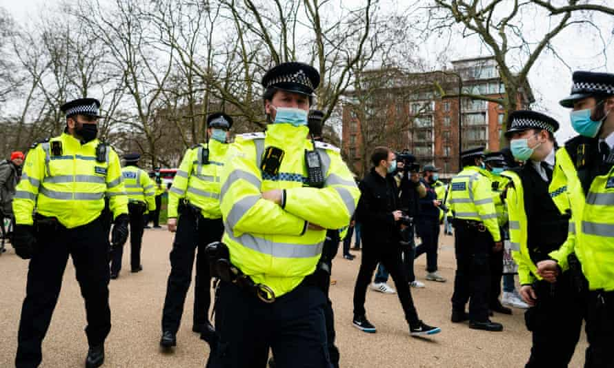 Police officers in London in March 2021