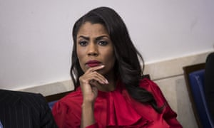 Omarosa Manigault-Newman listens during the daily press briefing at the White House.