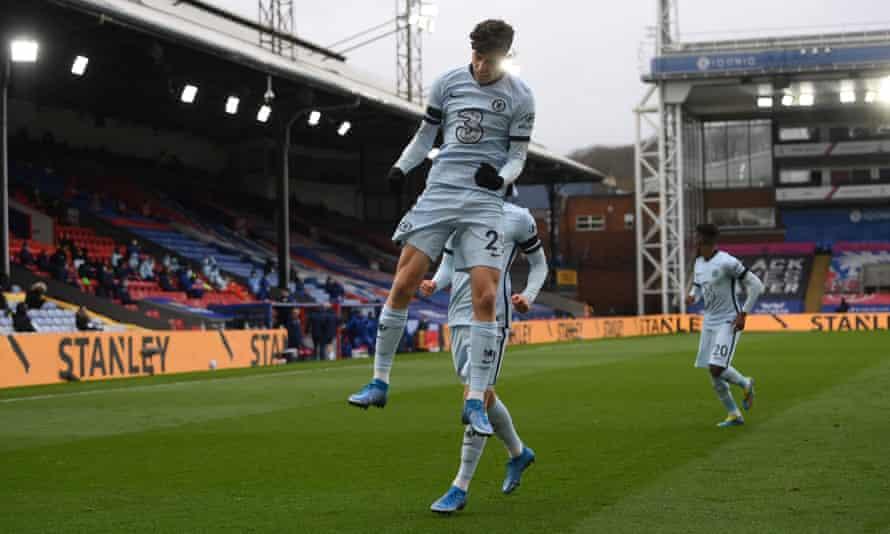 Kai Havertz celebrates putting Chelsea 1-0 up at Crystal Palace