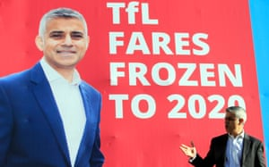 Sadiq Khan at the launch of his fares freeze policy.