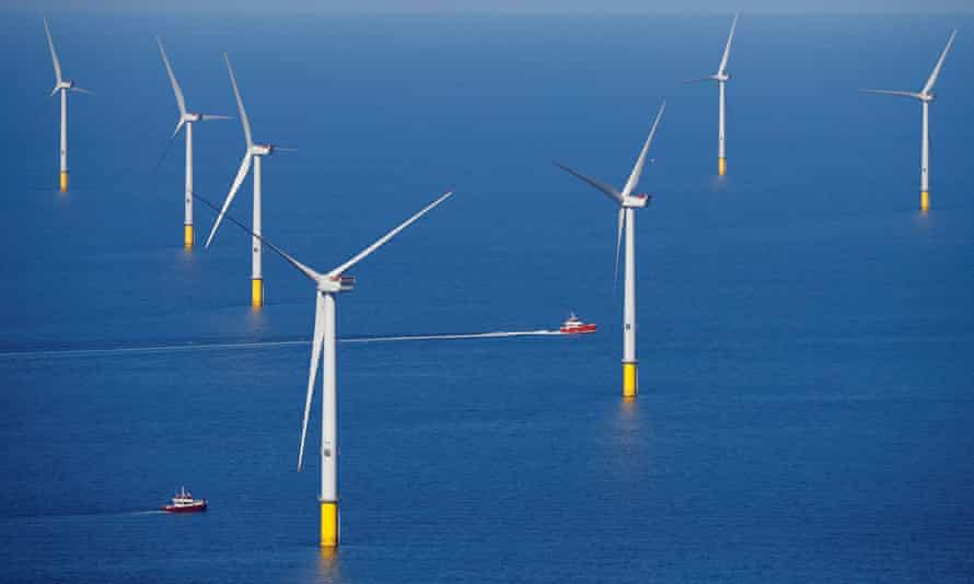 File photo of a wind turbine at an offshore wind farm off the coast of Blackpool, Britain