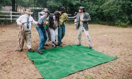 Actors performing during the Moores Ford Bridge lynching reenactment Moore's Ford Lynching