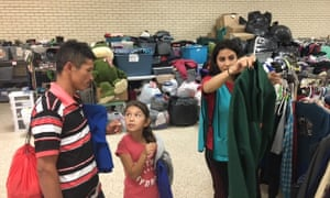 Honduran asylum seeker Carlos Reyes and his daughter at a shelter in McAllen, Texas