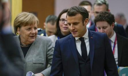German chancellor Angela Merkel with French president Emmanuel Macron