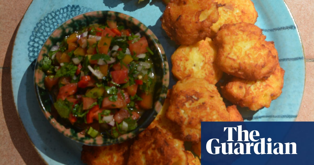 Potato cakes with tomato, onion, chilli and herb salsa | Rachel Roddy | Food | The Guardian