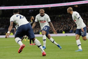 Tottenham's Steven Bergwijn celebrates with teammates after scoring his first goal for the club against Manchester City.