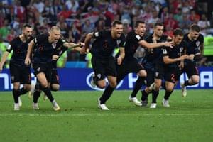 Croatia's players celebrate their winning penalty.
