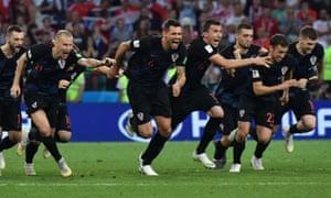 Croatia's players celebrate winning the penalty shootout.