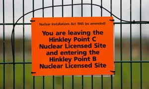 A sign marks the borders of the site where EDF Energy's Hinkley Point C nuclear power station will be constructed in Bridgwater,