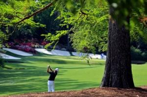 Korea's James Hahn of Korea hits his second shot on the beautiful 13th