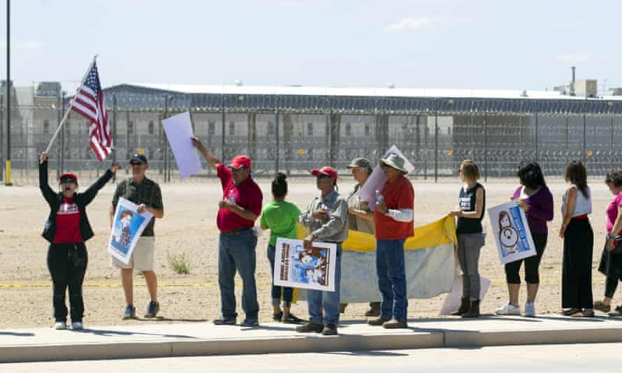 In 2014, immigrant advocates demonstrate outside the Ice detention center in Eloy, Arizona.