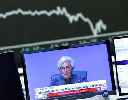 Christine Lagarde seen in a German TV broadcast of the ECB's coronavirus press conference on 12 March.