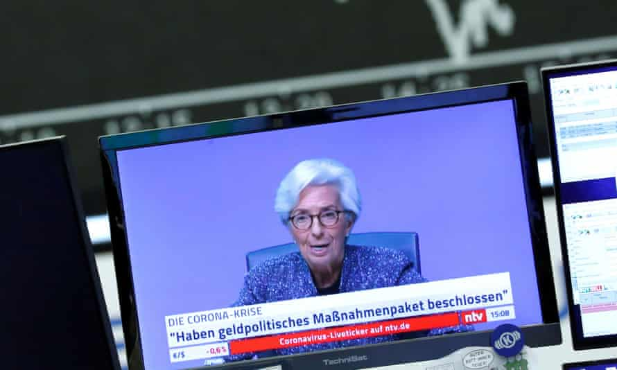 Christine Lagarde, president of the European Central Bank (ECB), on a TV monitor during a trading session at Frankfurt's stock exchange.