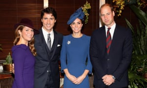 Sophie Grégoire Trudeau, Canadian prime minister Justin Trudeau, the Duchess of Cambridge and Prince William attend a meeting of senior leaders at Government House in Victoria, Canada.