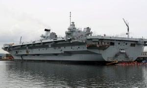 Aircraft Carrier HMS Queen Elizabeth at Rosyth dockyard.