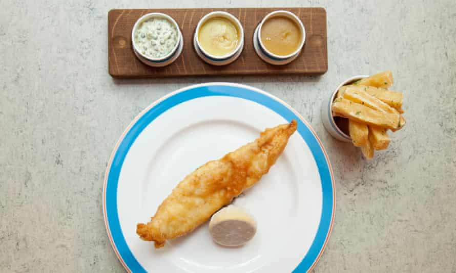 Deep fried brill and chips with pease pudding, tartare and Matson spiced sauce, Kerridge's Bar & Grill