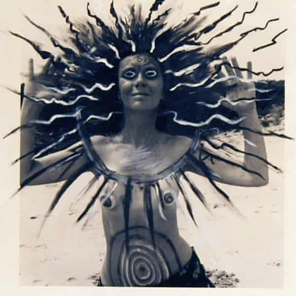 Mary Beth Edelson's Woman Rising Higher Spirit, 1975, china marker on silver gelatin print.