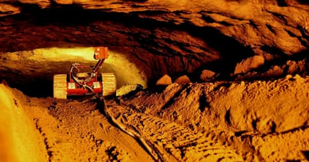 Explorer … a camera robot travels along the vast tunnel under the Pyramid of the Feathered Snake.