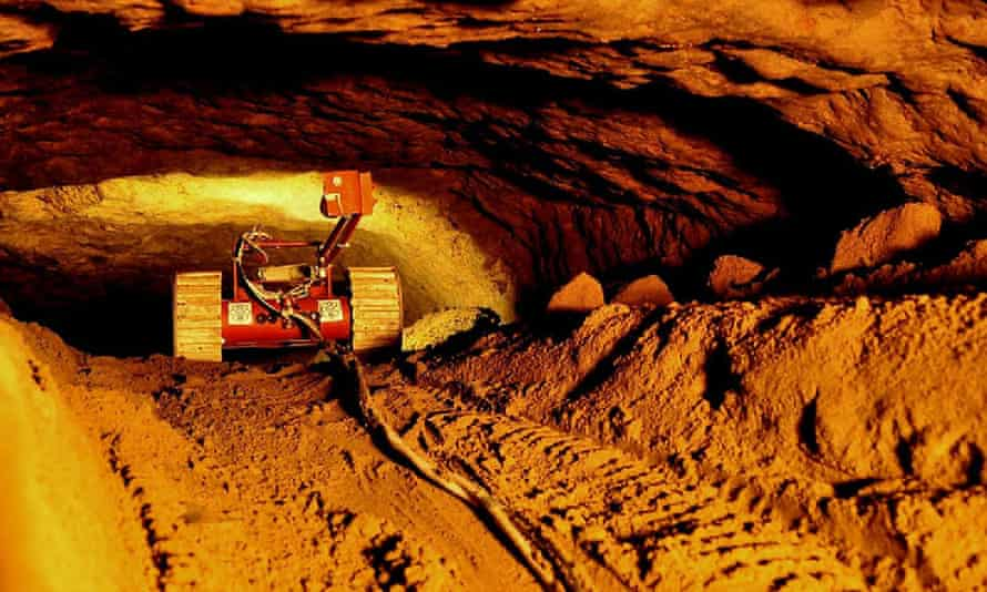 A robot camera explores the 103-metre tunnel under the Pyramid of the Feathered Snake.