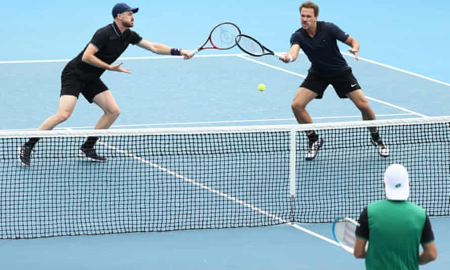 Jamie Murray (left) and Bruno Soares in action on Wednesday at the Australian Open.