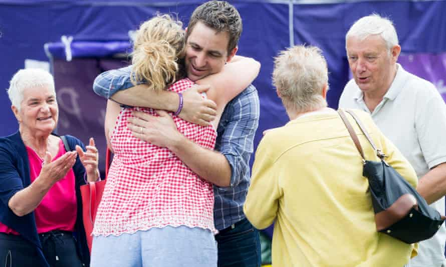 Brendan Cox, Jo's mother Jean Leadbeater (left) and father Gordon Leadbeater (right) in Heckmondwike.