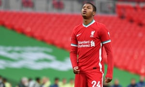 Liverpool's Rhian Brewster looks dejected after he misses his penalty.