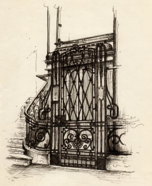 The wrought iron ornamented work of the elevator inside Casa di riposo, the Italian retirement community in Alexandria. The construction of the house started in 1929 and it was designed by the Italian architect Ernesto Verrucci.