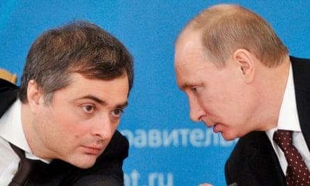 Former Russian deputy prime minister Vladislav Surkov speaking with Vladimir Putin in 2012.
