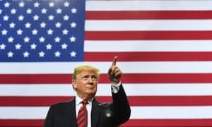 Donald Trump arrives on stage to speak in Springfield, Missouri.