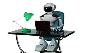Robot sitting at a desk using a laptop