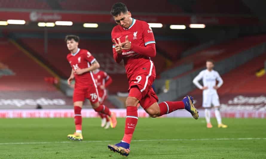 Roberto Firmino celebrates scoring Liverpool's third goal against Leicester