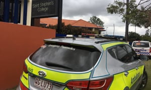 Paramedics and police at St Stephen's college in Upper Coomera on the Gold Coast