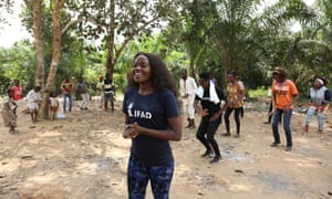 Sherrie Silver teaching young farmers in rural Cameroon for the #danceforchange music video
