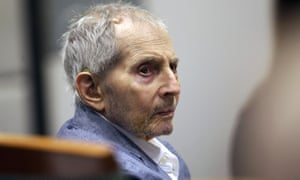 Robert Durst looks over during his murder trial in Los Angeles, California, on 10 March.
