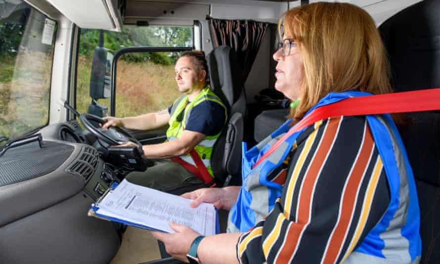 Jo Markham, transport manager for the logistics company Wincanton takes HGV1 driver Gabi Stefan through a refresher course.