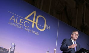 Former Florida governor Jeb Bush speaks at a 2013 American Legislative Exchange Council meeting.