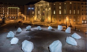 Ice Watch by Olafur Eliasson. Eliasson carved a massive block of ice from Greenland and installed the pieces at the Place du Panthéon in Paris last December for the UN climate summit.