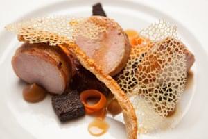 Roast pork and crackling at the Bridge Inn, Ratho.
