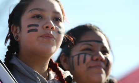 Idle No More Protests<br>WINDSOR ON - JANUARY 16: Brittany Albert and Tayah Doxtator watch traffic as