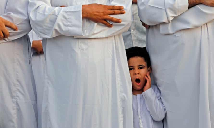 Morning prayer to celebrate Eid al-Fitr, marking the end of Ramadan in Gaza City.