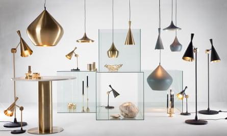 Tom Dixon metallic lamps and lightshades.