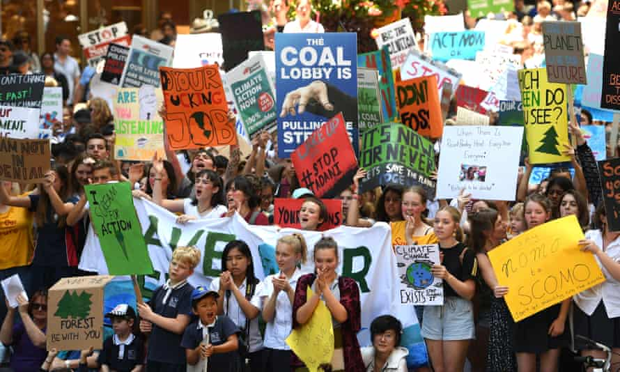 Thousands of students rally demanding action on climate change in Sydney, 30 November 2018.