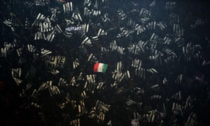<strong>Dortmund, Germany</strong><br>Outnumbered: a lone Italian flag is seen in a sea of Juventus flags during round 16 of the Uefa Champions League football match between Borussia Dortmund and Juventus