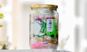 Jar containing a month's waste for a household of two people.