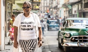 Young woman in an 'actually I'm in Havana' T-shirt