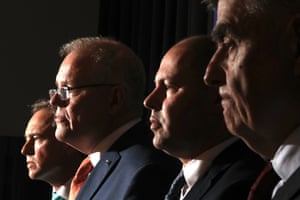 Prime Minister Scott Morrison, Treasurer Josh Frydenberg, Health Minister Greg Hunt and Chief medical officer Brendan Murphy at a press conference