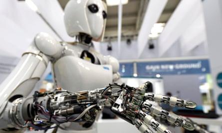 A robot on display at a computer trade fair